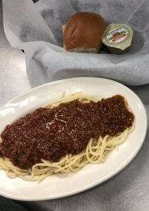 Spaghetti, Evaroni's, Meat sauce. Country Crock Butter